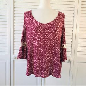 MOSSIMO SUPPLY CO. cold Shoulder Burgundy Blouse